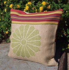 burlap DIY pillow. Outdoor?
