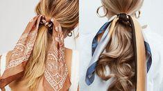 Bruna Ribeiro: CABELO: PENTEADOS COM LENÇOS Fashion, Hairstyles With Scarves, Different Hairstyles, Horse Tail, Hair Type, Hair Down Hairstyles, Moda, Fasion, Trendy Fashion