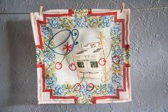 Subversive Embroidery  Textile Art  Vintage hankie by BobbisMixedMediaArt, $75.00