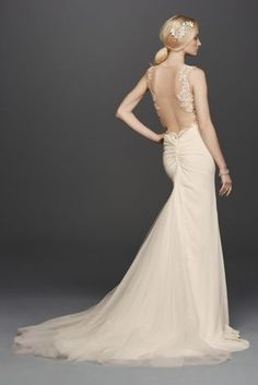 Swg788 wedding pinterest slit skirt sheath wedding gown and this crepe sheath is a show stopping gown featuring a plunging v neckline beaded lace appliques and sultry sheer illusion panels at the sides and back junglespirit Images