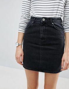 ASOS - Jupe originale taille haute en jean - Noir délavé
