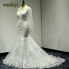 wuzhiyi mermaid wedding dress Long wedding Gown Cap Sleeve gown Sccop vestido  de noiva lace trumpet Beading dress robe de mariee Review bf20497f5f49