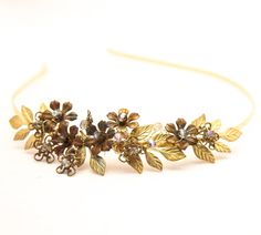 Golden wedding tiara gold leaves and vintage by BeSomethingNew, $60.00