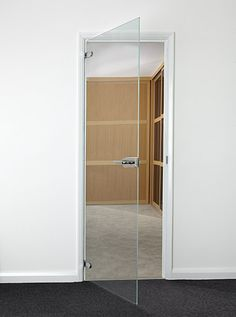 Clear Hinged Glass Doors - Frameless glass doors create a fabulously contemporary look in any room, allowing light to flood the space with a clear glass finish, yet allowing for privacy when you