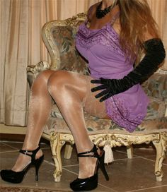 Purple Full Slip Black Satin Gloves Shimmer Stockings and Black Ankle Strap High Heels