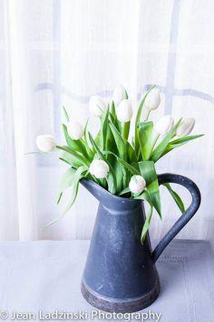 11x14 White Tulip Still Life - Home Decor - White Flowers - Shabby Chic - For Her - Home Decor - Botanical Print - Gray, White, Vintage