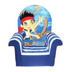 Kids High Back Chair  Disneys Jake and Neverland Pirates Toddler Couch Furniture #MarshmallowFurniture