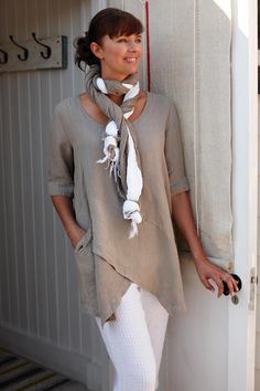 Tops | Linen Asymmetric Tunic at Sahara ~ I have no need for the wrap around the neck - that would smoother me... but the tunic is perfect