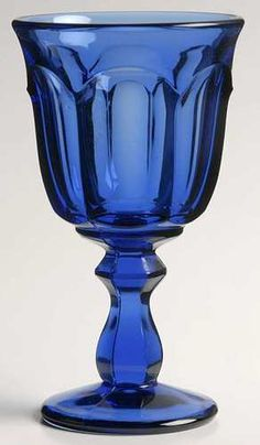 Imperial Glass Old Williamsburg Blue Wine Glass