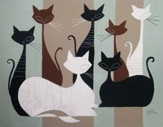 painting by El Gato Gomez Illustration Art, Illustrations, Photo Chat, Cute Quilts, Animal Quilts, Mid Century Art, Cat Crafts, Patch Quilt, Retro Art