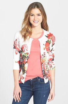 Halogen® Floral Print Cardigan (Regular & Petite) available at #Nordstrom