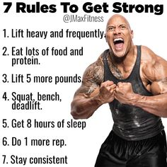 7 RULES TO GET STRONG! If you're not doing any of these, you should start, right now. Eat Enough, Eat Right, AndGain Weight. Strength Train One Big Lift Per Workout. Pull More Than You Push. Track Your Progress And Follow A Program. Don't Obsess Over The Little Stuff. Getting insanely strong isn't just about physical strength, it's about mental strength too. Getting under big weights is daunting and grueling. You must overcome fear, self-doubt, and pain.