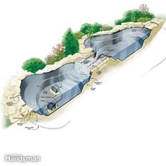 Illustration of pond and stream