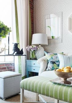 A stunning vignette from the Thibaut Spring showcase at High Point Market With VanCollier, Currey & Company, Wendy Concannon Photography and oomph. Furniture Showroom, New Furniture, High Point Furniture, Feminine Decor, Interior Design, Foo Dog, Home Decor, Fresh, Lydia Lee