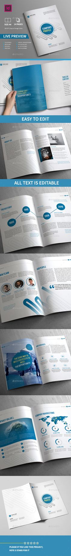 Company Profile Brochure 14 Pages A4 Template PSD #design Download: http://graphicriver.net/item/company-profile-brochure-14-pages-a4/13499951?ref=ksioks