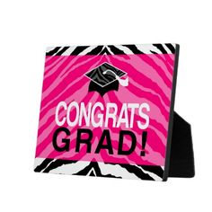 Hot Pink Zebra Congrats Girl's Graduation Party Display Plaque Tabletop Decorations
