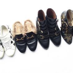 All lined up. YSL, Gucci, Givenchy & Chloe. Flat lay via OVRSLO.