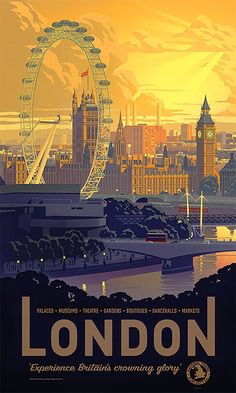 60 Inspiring Designs in the Style of Art Deco Travel Posters - London by James . - 60 Inspiring Designs in the Style of Art Deco Travel Posters – London by James Northfield - Jazz Poster, Neon Poster, City Poster, Poster Retro, Poster Art, Poster Prints, Art Prints, Posters Paris, Posters Decor