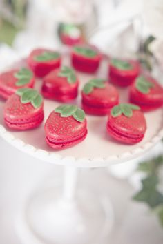 Love these macarons for a strawberry themed shower or party.