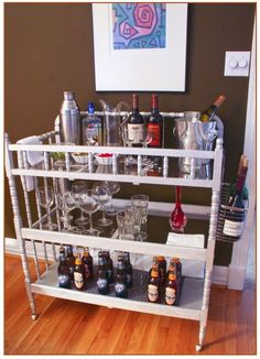 Turn your changing table into a bar cart. | 12 Depressing (But Useful) DIY Baby Projects