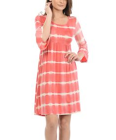 This Coral & White Stripe Ruffle-Sleeve Dress by Celeste is perfect! #zulilyfinds