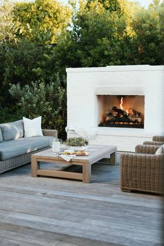 Outdoor Fireplace Patio, Outside Fireplace, Outdoor Fireplace Designs, Outdoor Fireplaces, Indoor Outdoor Living, Outdoor Dining, Outdoor Decor, Outdoor Spaces, Patio Decorating Ideas On A Budget