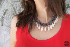 Grey statement necklace with white drops