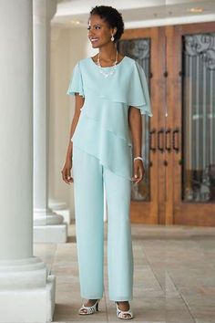 2018 New Mother of the Bride Dresses Pants Suits Wedding Guest Dress Silk Chiffon Short Sleeve Tiered Mother of Bride Pant Suits Custom Made Wedding Party Dresses, Bridal Dresses, Halter Dresses, Tunic Dresses, Dress Tops, Wedding Pantsuit, Mother Of The Bride Suits, Mother Bride, Dress Plus Size
