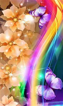 By Artist Unknown. Cocoppa Wallpaper, Bling Wallpaper, Flower Background Wallpaper, Butterfly Wallpaper, Butterfly Flowers, Cellphone Wallpaper, Flower Backgrounds, Colorful Wallpaper, Beautiful Butterflies