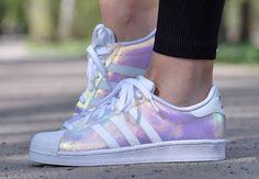 Iridescent Adidas superstar shoes // available from shoe asylum £66