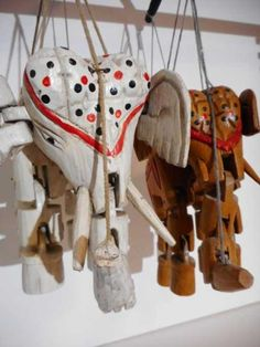 Lot: Two elephant wooden puppets or marionettes, Lot Number: 0056, Starting Bid: €1, Auctioneer: Meyers Tradings, Auction: Curious Noses Antiques & Curiosities, Date: December 6th, 2017 CET