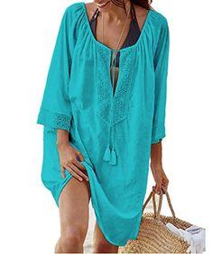 Discreet Summer Women Bikini Cover Up Sarong Cardigan Dress Kaftan Lace Crochet Sheer Beach Wear Long Blouse Casual Loose Long Sleeve Blouses & Shirts