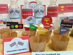 Colourful race flags & traffic lights cupcake toppers and checkered race flags water bottle labels are nice touches for a racing themed party! By mrpartyideas.com. Transportation Birthday, Race Car Birthday, Cars Birthday Parties, 5th Birthday, Youre Invited, Bottle Labels, Diy Party, Party Printables, Cupcake Toppers