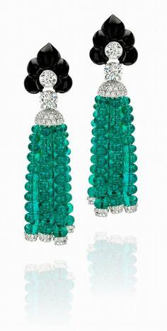 18k white gold, emerald bead, carved black onyx & diamond earrings // anna hu