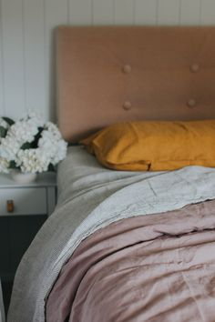 Pure French Flax Linen - Sheet set in Pinstripes, Duvet Cover in Rosewood, Pillow Case in Mustard Linen Sheets, Linen Bedding, Bed Linen, California King, Sheet Sets, Duvet Covers, Pillow Cases, Room Decor