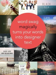 WORD SWAG :: Cool fonts, typography generator, creative quotes, and text over pic editor