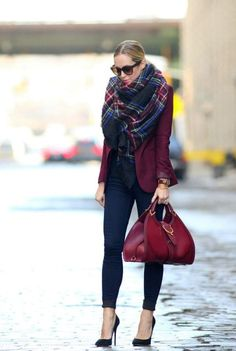maroon-jacket-with-plaid-scarf- Fall burgundy outfit ideas http://www.justtrendygirls.com/fall-burgundy-outfit-ideas/