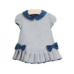 Un vestido dulce para las pequeñas. Vestido de Fina Ejerique gris y azul con terciopelo en Vestidos de Bebé. Compra online moda infantil española. www.pepaonline.com