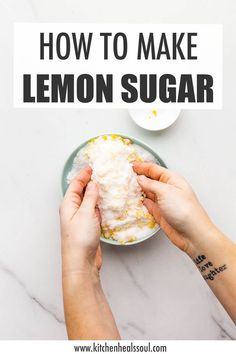 Learn how to make lemon sugar with this easy recipe that works with any citrus fruit, including orange, grapefruit, lime, and even bergamot! Baking Hacks, Baking Tips, Baking Recipes, Cake Recipes, Lemon Cranberry Muffins, Lemon Muffins, Citrus Recipes, Sweet Recipes, All You Need Is