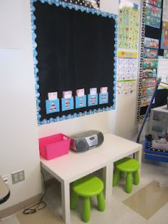 First Grade Glitter and Giggles: organization, her listening center, lists items from ikea. Classroom Layout, New Classroom, First Grade Classroom, Classroom Design, Kindergarten Classroom, Classroom Organization, Classroom Management, Classroom Decor, Classroom Setting