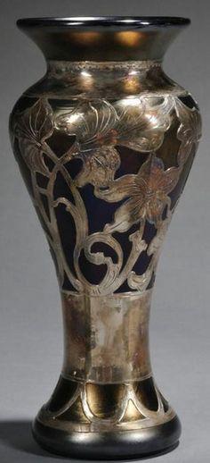 Art Nouveau, Vase, Silver Overlay