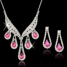 Elegant Pink Luxury Bridal Jewelry Sets Austrian Crystal Necklace ...