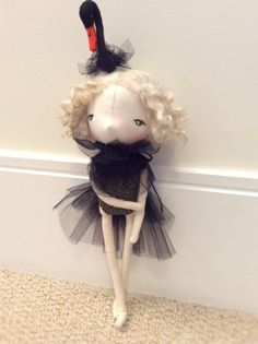 """Black Swan"" handmade doll by A Stitch To Remember Black Swan, Handmade Dolls, Snowman, Stitch, Sewing, Outdoor Decor, Room, Home Decor, Art"