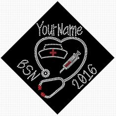 BSN RN LPN nurse graduation cap custom name and date iron on rhinestone transfer bling Choose Color applique decal