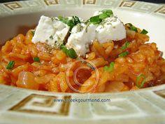 Domatorizo meh Feta… Tomato Rice with Feta Cheese