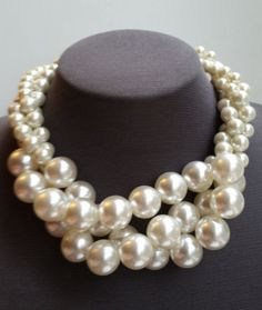 Check out this item in my Etsy shop https://www.etsy.com/ca/listing/239129663/three-layer-pearl-necklace-large-pearl