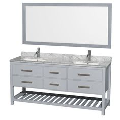 Natalie 72-inch Gray Double Vanity, Undermount Square sinks, 70-inch Mirror with options