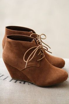 Strut It Out Camel Wedges, wedges, heels, camel, brown, tan, taupe, booties, shorties, boots, lace up, slip on, comfortable, short, easy to wear, fashion, shoes