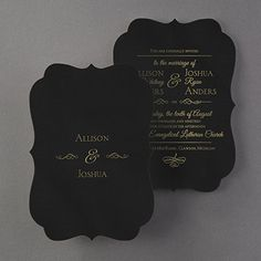 Posh Plush - Invitation - Black Velvet Black velvet. A unique crest shape. Foil printing. The perfect wedding invitation to introduce your posh celebration. Your names are on the back to complete the look.