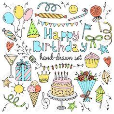Illustration of Happy birthday set. Vector illustration vector art, clipart and stock vectors. Happy Birthday Doodles, Happy Birthday Drawings, Birthday Card Drawing, Creative Birthday Cards, Handmade Birthday Cards, Doodle Drawings, Doodle Art, Doodle Wedding, Sketch Note